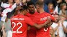 Marcus Rashford celebra un gol con los Tres Leones