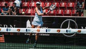 Marta Marrero durante su partido de cuartos en Suecia