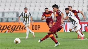 Perotti anotó un doblete que dio la victoria a la Roma en el Juventus Stadium.