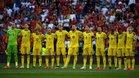 La selección sueca durante el minuto de silencio