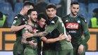 La alegría de los jugadores del Nápoles, tras derrotar 2-4 a la Sampdoria, más que justificada