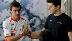 Alonso y Alguersuari, en 2009, cuando el barcelonés debutó en la F1