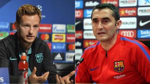 Ivan Rakitic y Ernesto Valverde, jugador y entrenador del FC Barcelona, respectivamente