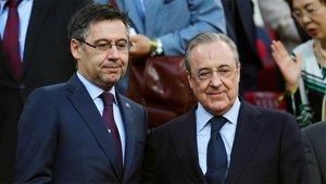 Josep Maria Bartomeu, presidente del FC Barcelona, y Florentino Pérez, presidente del Real Madrid