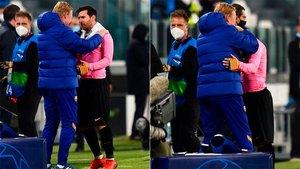 Koeman y Messi se abrazaron al final del partido
