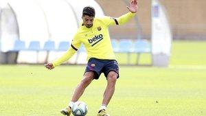 Luis Suárez, en un entrenamiento en la Ciutat Esportiva Joan Gamper del FC Barcelona