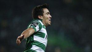Marcos Acuña, tras anotar un gol con el Sporting Portugal.