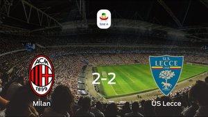El Milan y el US Lecce empatan y suman un punto a su casillero (2-2)