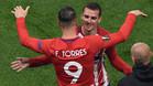 Momento en el que Torres sustituye a Griezmann