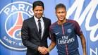 Neymar y Nasser en la presentación del brasileño