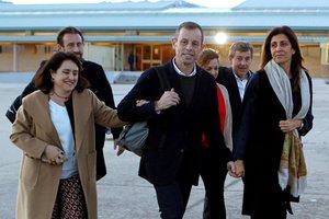 Sandro Rosell, en el momento de salir de la prisión de Soto del Real