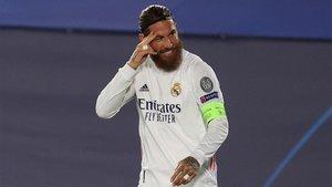 Sergio Ramos, celebrando su gol contra el Inter