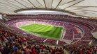 Vista aérea del Wanda Metropolitano que logró el récord de asistencia a un partido de fútbol femenino en España: 60.739 aficionados. El Atlético de Madrid recibió al Barcelona en partido de la Liga Iberdrola.
