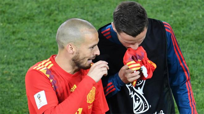 David Silva en un momento del España-Marruecos del Mundial de Rusia 2018