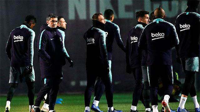 Así fue el último entrenamiento del Barça antes de recibir al Eibar