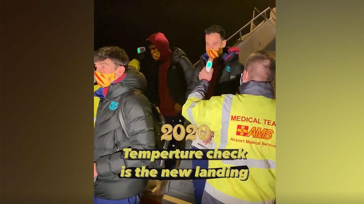 Así pasó el Barça el control de temperatura nada más aterrizar en Budapest