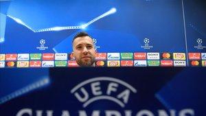 Jordi Alba, durante su rueda de prensa previa al duelo contra el Inter