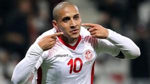 Khazri celebra su último tanto con Túnez