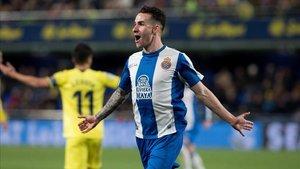 López celebra su único gol con el Espanyol la temporada pasada