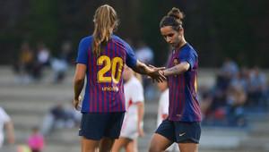 Martens y Andonova, durante un partido