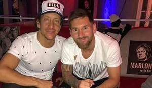 Messi, junto a su amigo Nicolás Vázquez