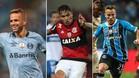 El podio del Mejor Futbolista del año de Sudamérica 2017, evento organizado por el periódico El País de Montevideo (Uruguay): Luan (Gremio), Guerrero (Flamengo) y Arthur (Gremio)