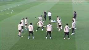 Sergio Ramos entrena con el grupo en vísperas del Sevilla