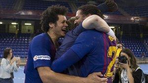 El Barça Lassa celebró el título liguero el mes pasado en el Palau