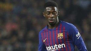 Dembélé durante un encuentro con el FC Barcelona