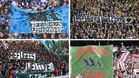 En diferentes campos de la Bundesliga se vieron pancartas de apoyo a los refugiados