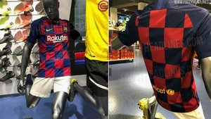 Dos imágenes de la nueva equipación del Barcelona 2019 / 2020