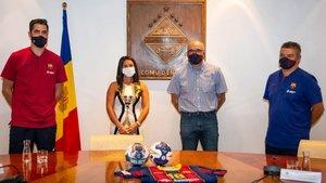 Entrerríos y Xavi Pascual, en la rueda de prensa en el Comú dEncamp