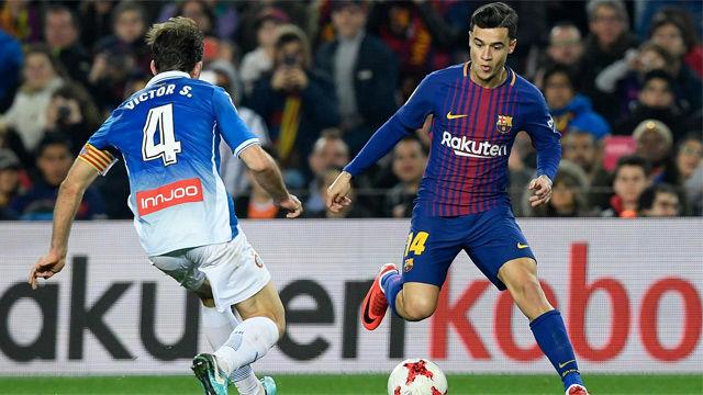 LACOPA | Barça-Espanyol (2-0) | El primer detalle de calidad de Coutinho con la camiseta del Barça