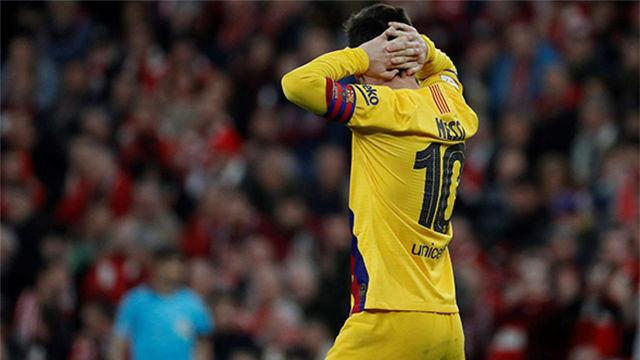 Messi no se lo creía. Esta fue la cara de Leo tras el doloroso gol de Williams en el descuento