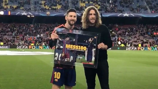 Messi, homenajeado antes del Barça-Roma