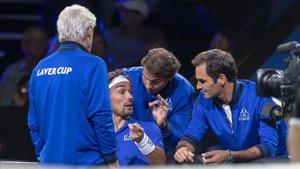 Nadal y Federer aconsejando a Fognini