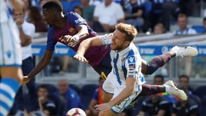 Ousmane Dembélé ha marcado el segundo gol blaugrana en Anoeta