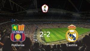 El Poblense y el RM Castilla finalizan su encuentro liguero con un empate (2-2)