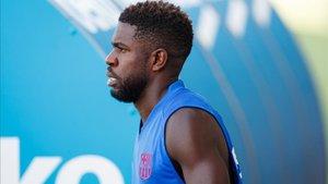 Samuel Umtiti, durante el entrenamiento del FC Barcelona de esta tarde