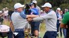Thomas y Woods celebran efusivamente el punto ganado en la Presidents Cup