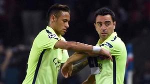 Xavi y Neymar durante su época en el Barça