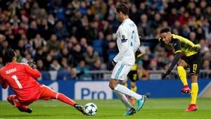 Aubameyang superó dos veces a Keylor Navas en el Santiago Bernabéu