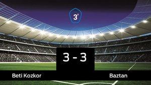 El Beti Kozkor no pudo conseguir la victoria frente al Baztan (3-3)