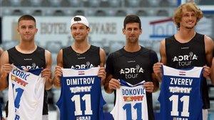 Dimitrov junto a Djokovic, Coric y Zverev en el Adria Tour