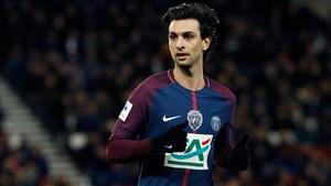 Javier Pastore disputando un partido con el Paris Saint-Germain