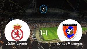 El Júpiter Leonés y el Burgos Promesas se repartieron los puntos tras un empate a 1