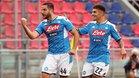 Kostas Manolas celebra el 0-1 del Nápoles en el Renato DallAra