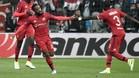 Lacazette, celebrando su gol al Besiktas