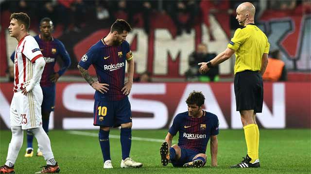 LACHAMPIONS | Olympiacos-FC Barcelona (0-0): Así se lesionó Sergi Roberto