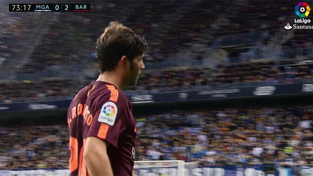 LALIGA | Málaga - FC Barcelona (0-2): Sergi Roberto se fue dolorido del terreno de juego